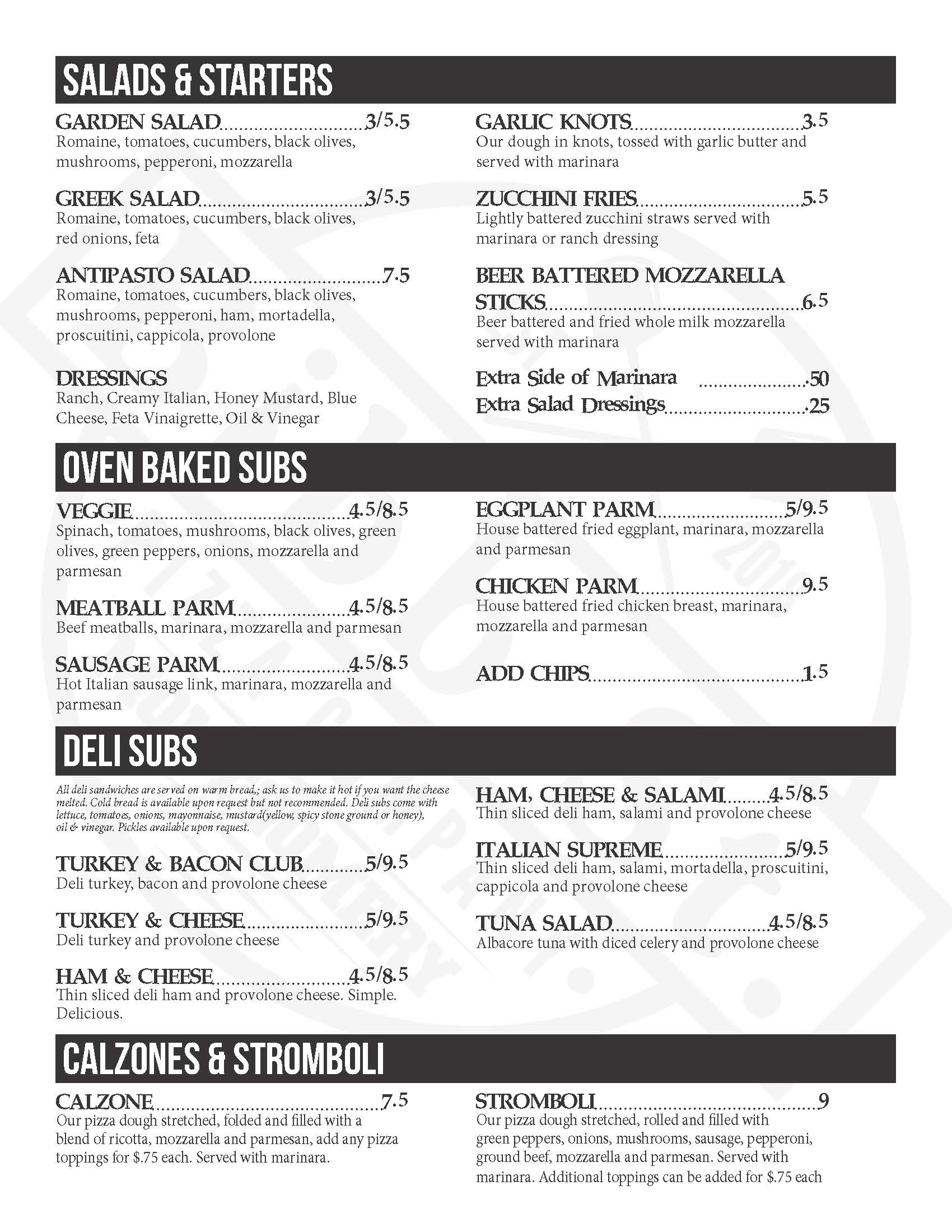 Bibb St Pizza Menu